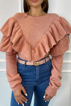 Load image into Gallery viewer, RACHEL Blush Frill Detail Knitted Jumper