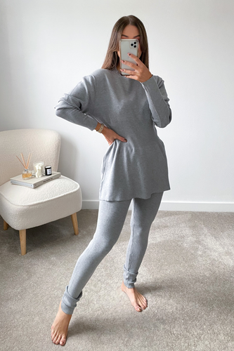 DOLA Grey Ribbed Long Sleeved Legging Loungewear Set