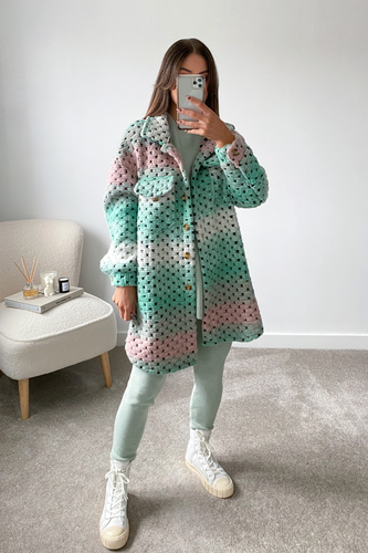 Kiara Mint Knitted button up Long shacket