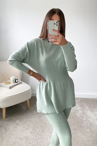 DOLA Sage Ribbed Long Sleeved Legging Loungewear Set
