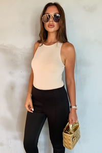 SONIA Camel Scoop Neck Bodysuit