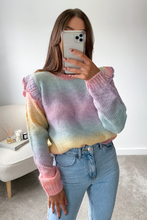 Load image into Gallery viewer, Tinkerbell Multi Colour Knitted Frill shoulder Jumper