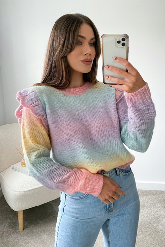 Tinkerbell Multi Colour Knitted Frill shoulder Jumper