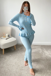 Reese Powder Blue Cable Knit Buttoned Loungewear set