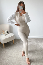 Load image into Gallery viewer, Valencia Beige Diamante Button Puff Sleeve Loungewear set