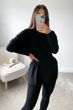 Load image into Gallery viewer, DOLA Black Ribbed Long Sleeved Legging Loungewear Set
