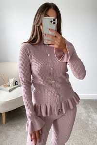 Reese Blush Pink Cable Knit Buttoned Loungewear set