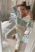 Load image into Gallery viewer, ELLA Sage and Nude Zip Detail Hooded Tracksuit