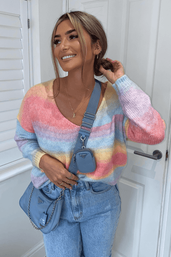 Avery Multi colour Knitted V-Neck Oversized Jumper