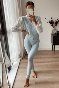 Valencia Powder Blue Diamante Button Puff Sleeve Loungewear set
