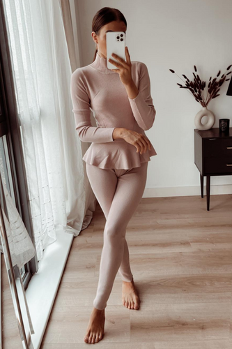 Connie Blush Pink Peplum longsleeve belted Loungewear set