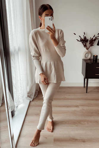 DOLA Beige Ribbed Long Sleeved Legging Loungewear Set