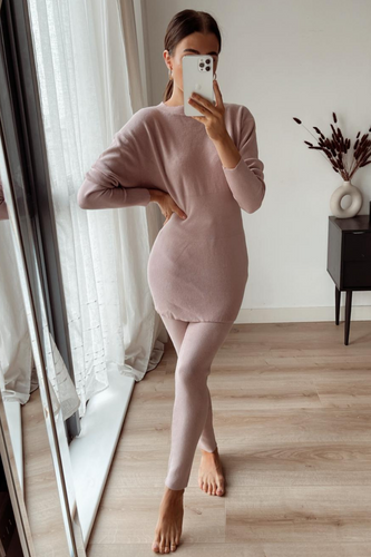 DOLA Blush Pink Ribbed Long Sleeved Legging Loungewear Set