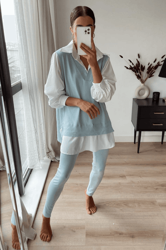 Aubrey Powder Blue V Neck Jumper Shirt Loungewear Set