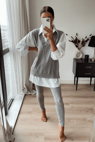 Aubrey Grey V Neck Jumper Shirt Loungewear Set