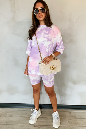 JESSICA Lilac Tie Dye Cycling Shorts Co-Ord