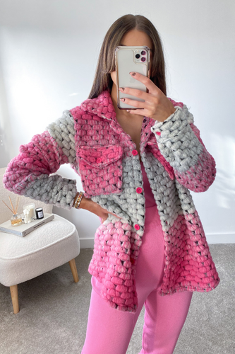 LOTTIE Pink Knitted button up shacket