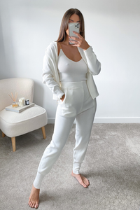 LUCIA White Chain shoulder zip up 3 piece lounge set