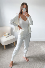Load image into Gallery viewer, LUCIA White Chain shoulder zip up 3 piece lounge set