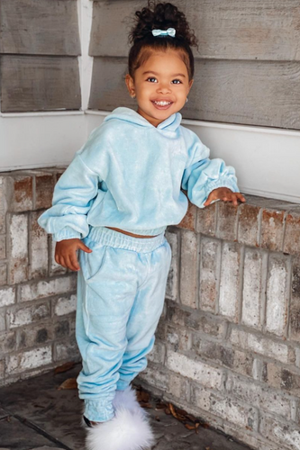 Mini SUGAR Blue Toweling Hooded Loungewear Set