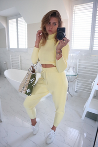 KELSEY Lemon High Neck Fitted Lounge Set