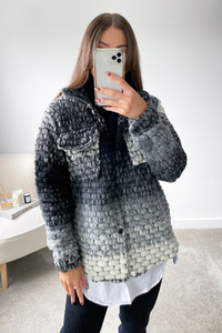 LOTTIE Black Knitted button up Shacket