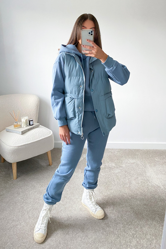 FAY Powder Blue 3 Piece Hoodie Jogger And Vest Set