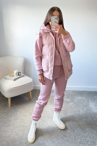 FAY Pink 3 Piece Hoodie Jogger And Vest Set