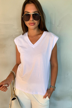 Load image into Gallery viewer, GINA White Shoulder Pad V Neck Top