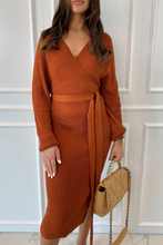 Load image into Gallery viewer, LUCY Camel Surplice Belted Midi Dress