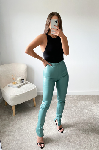 Polly Turquoise High Waisted Split Hem Pu Trousers