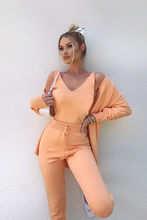 Load image into Gallery viewer, KIMMY Peach Knitted 3-piece Loungewear set