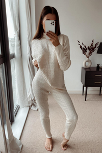 CHARLOTTE Cream Cable Knit Turtle Neck Loungewear Set