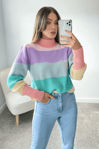 ASHIA Rainbow High Neck Pleat Shoulder Jumper