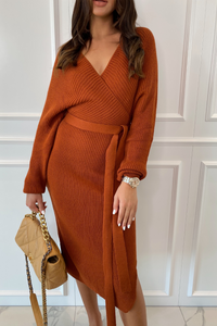 LUCY Camel Surplice Belted Midi Dress