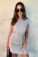 Load image into Gallery viewer, LORELLE Grey Shoulder Pad Belted Dress