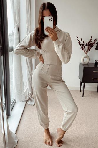 TIA Cream Corset Detail Hooded Tracksuit