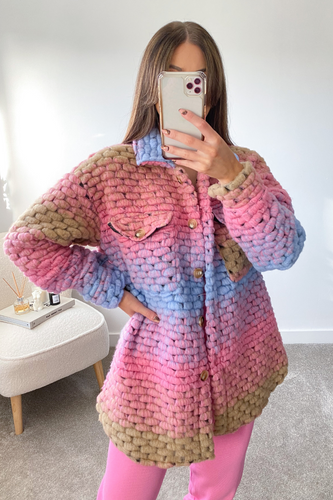 LOTTIE Multi Pastel Knitted button up Shacket