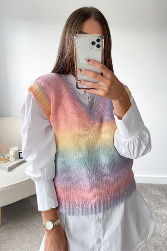 Adalyn Multi Colour Knitted Sleeveless Jumper