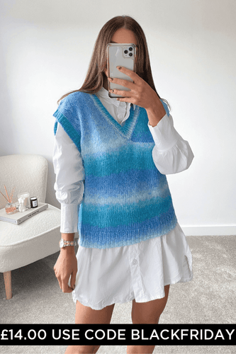 Adalyn Turquoise Knitted Sleeveless Jumper
