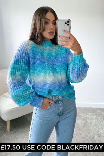 KOKO Turquoise Cable Knit High Neck Jumper