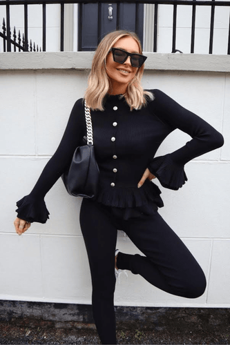 BEAU Black Frill Detail Buttoned Loungewear Set