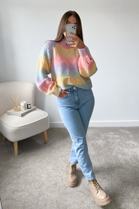 KOKO Multi Colour Cable Knit High Neck Jumper