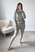 Load image into Gallery viewer, REMI Grey High Zip Neck Loungewear Set