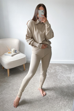 Load image into Gallery viewer, REMI Beige High Zip Neck Loungewear Set