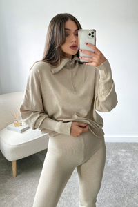 REMI Beige High Zip Neck Loungewear Set