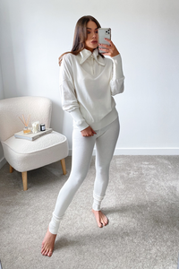 REMI Cream High Zip Neck Loungewear Set
