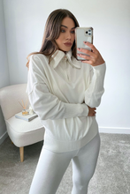 Load image into Gallery viewer, REMI Cream High Zip Neck Loungewear Set