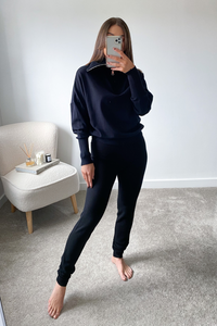 REMI Black High Zip Neck Loungewear Set