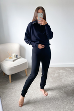 Load image into Gallery viewer, REMI Black High Zip Neck Loungewear Set
